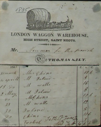 Bill from London Waggon Warehouse, High Street, St Neots to Mr Newman, in 1835