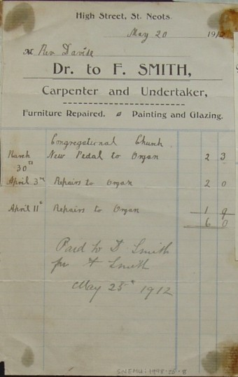 Congregational Church, St Neots - Invoice from F Smith, Carpenter and Undertaker to Rev Davise for repairs to the organ, dated May 1912