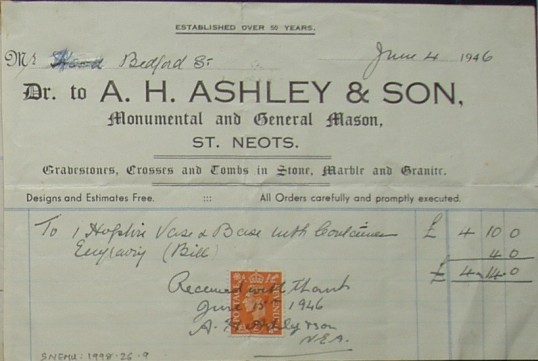Invoice from A.H. Ashley & Son, Monumental and General  Mason, St Neots to Mr Hood of Bedford Street, June 1946