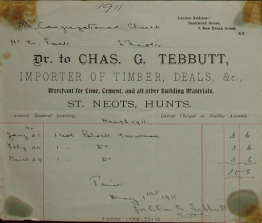 Congregational Church, St Neots - Invoice from Chas G. Tebbutt, Building Merchant for firewood, dated March 1911