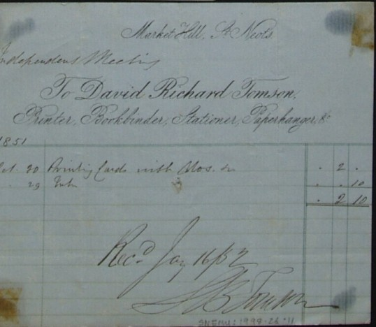 Independent Meeting Chapel, St Neots - Invoice from David Richard Tomson, Printers of Market Hill, St Neots, dated 1851