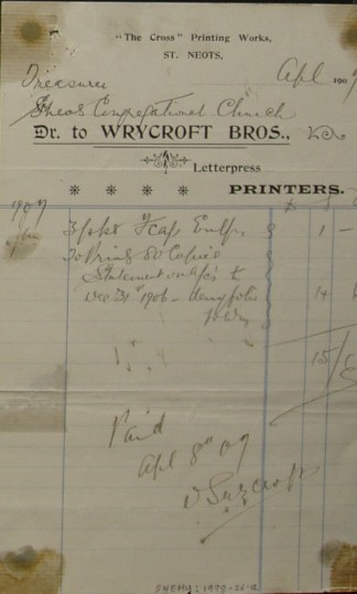 Congregational Church, St Neots - Invoice from Wrycroft Bros, printers of The Cross Printing Works, St Neots, dated April 1909