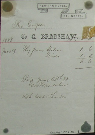 Invoice from New Inn Hotel, St Neots for the hire of a fly carriage from G. Bradshaw for Rev Cooper in June 1888