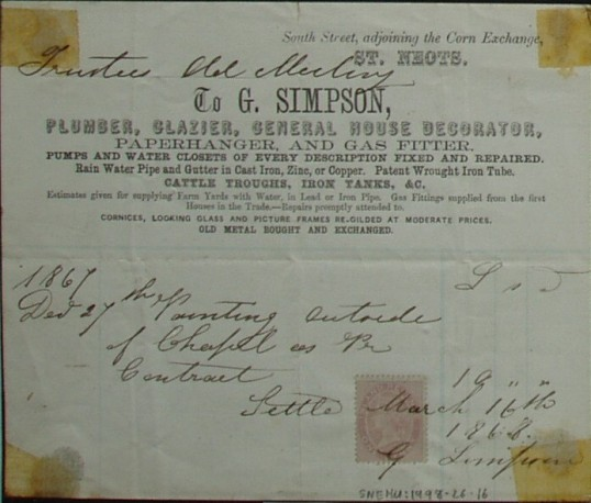 Old Meeting House Chapel - invoice for painting, from G. Simpson, Decorator and Gas Fitter etc of St Neots, dated 1868
