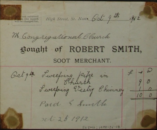 Congregational Church, St Neots - Invoice from Robert Smith, Soot Merchant of High Street, St Neots for sweeping a pipe and chimney, dated October 1912
