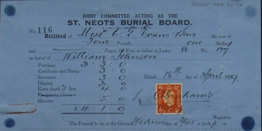Invoice from St Neots Burial Board for the burial of William Johnson, April 1939