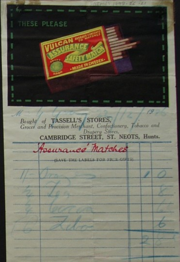 Bill for groceries from Tassell's Stores, Cambridge Street, St Neots, December 1926