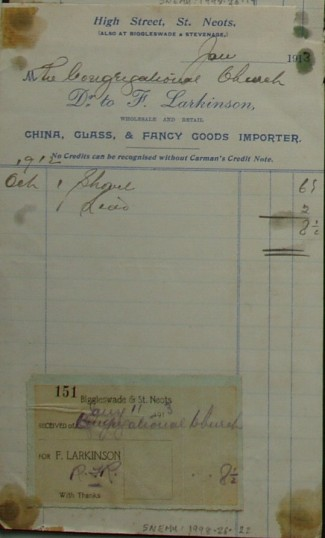 Congregational Church, St Neots - Invoice from F. Larkinsons Stores, High Street, St Neots, dated January 1913