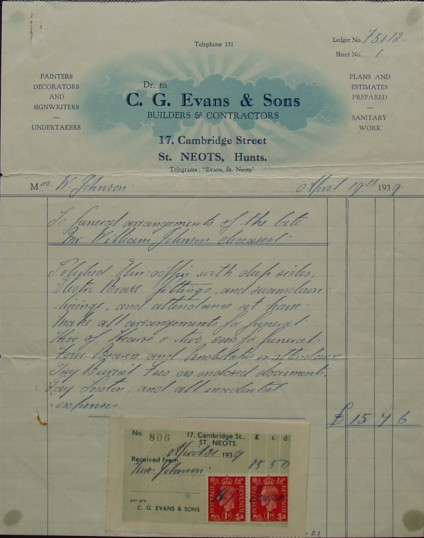 Invoice to Mrs W. Johnson from C.G. Evans, Builders and Contractors for the funeral arrangements for William Johnson, April 1939