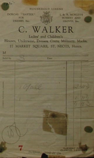 Invoice from C. Walker, Outfitters of Market Square, St Neots, 1930s