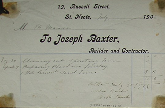 Invoice from Joseph Baxter, Builder and Contractor of Russell Street, St Neots for work carried out at The Manse, dated July 1908