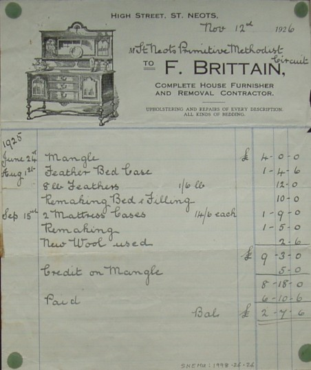 Invoice from F. Brittain, Furnisher's of St Neots, for St Neots Primitive Methodist Circuit, November 1926