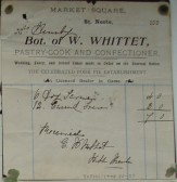 Invoice from W. Whittet, Confectioners of Market Square, St Neots, dated 1890