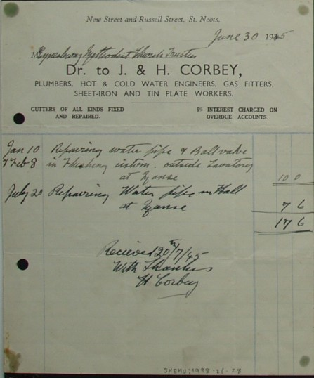 Invoice from J & H Corbey Plumbers and Engineers, St Neots to Eynesbury Methodist Church Trustees for plumbing repairs, June 1945