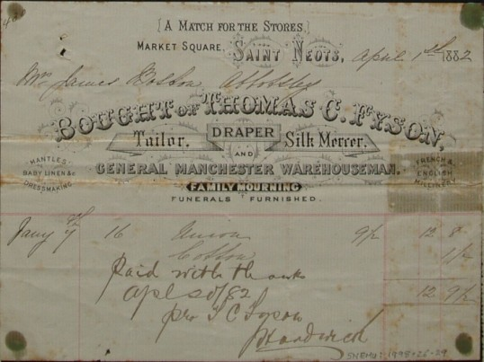 Invoice from Thomas C Fyson, Tailor and Draper, Market Square, St Neots for material, dated April 1882