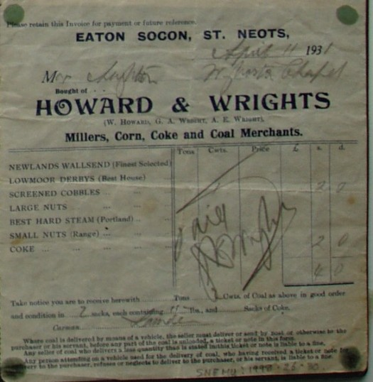 Invoice for coal from Howard & Wrights Millers and Merchants, Eaton Socon, April 1931