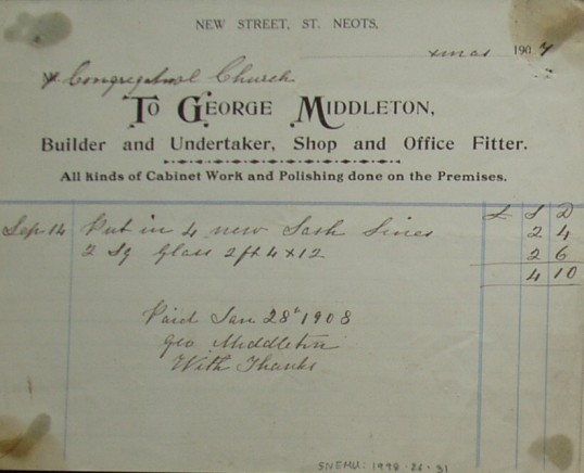 Congregational Church, St Neots - Invoice for window repairs from George Middleton, builders and undertakers, New Street, St Neots, dated December 1907