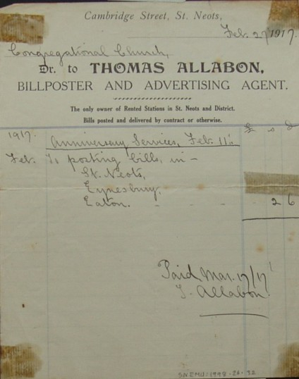 Invoice from Thomas Allabon, Billposter & Advertising Agent, Cambridge Street, for advertising for St Neots Congregational Church, February 1917