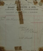 Invoice from Ekins & Son House Furnishers, High Street, St Neots for the hire of 380 chairs by Mr Barker, December 1888