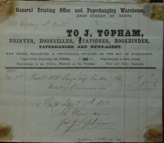 Old Meeting House, St Neots - Invoice from J. Topham, printers of High Street, St Neots for printing work for the Trustees, dated January 1850