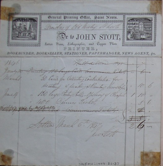 Old Meeting House, St Neots - Invoice from John Stott, printers of St Neots for printing work for the Trustees, dated 1847
