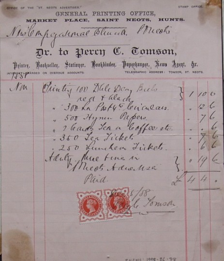 Congregational Church, St Neots - Invoice from Percy G. Tomson, printers of Market Place, St Neots for printing work, dated November 1888