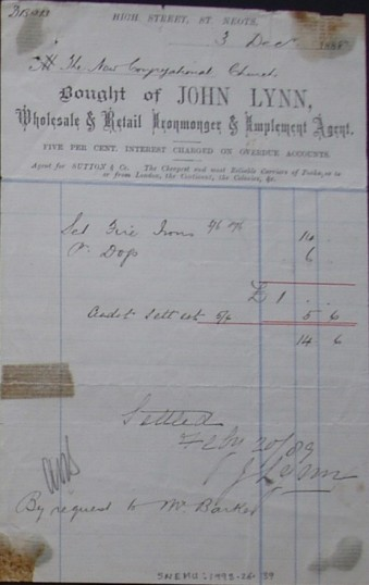 Congregational Church, St Neots - Invoice from John Lynn, Ironmongers of High Street, St Neots for ironwork, dated December 1888