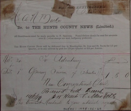 Congregational Church, St Neots - Invoice from Hunts County News Ltd for the advertising of the Opening of the New Congregational Church, dated 1888