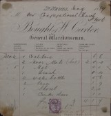 Congregational Church, St Neots - Invoice from W. Carter, General Warehouseman of St Neots for various items, dated January 1889