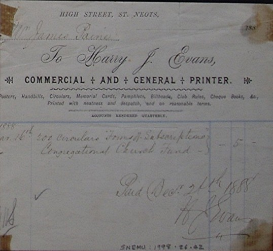 Congregational Church, St Neots - Invoice from Harry J. Evans, printers of High Street, St Neots, dated December 1888