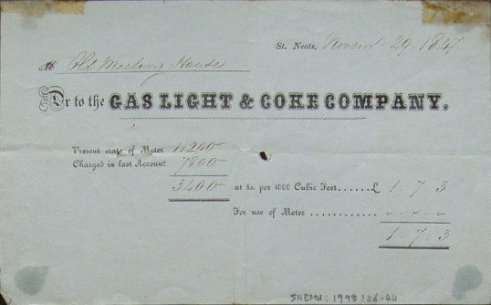 Old Meeting House, St Neots - Invoice from Gas Light & Coke Company, St Neots for gas supplied, dated November 1847