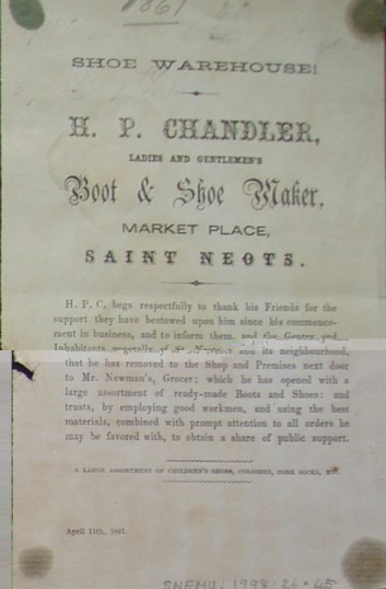 H.P. Chandler, Boot & Shoemaker of the Market Square, St Neots - printed handbill noting a change of address, dated April 1861