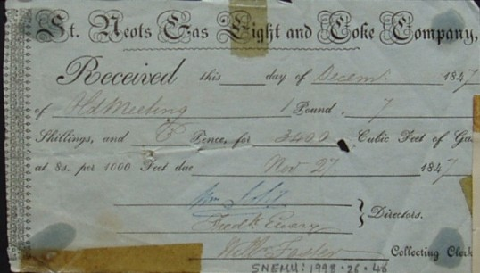 Old Meeting House - receipt from the St Neots Gas Light & Coke Company for gas supplied, dated 1847