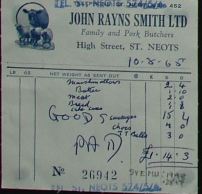 Invoice from John Rayns Smith Ltd, Butchers of High Street, St Neots for food supplied, August 1965