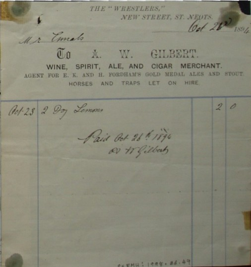 Invoice from A.W. Gilbert, Wine and Spirits Merchant of The Wrestlers, St Neots to Mr Ennals for the sale of lemons in October 1894