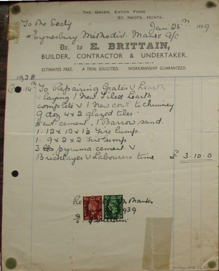 Invoice from E.Brittain, Builder and Undertaker from Eaton Ford Green for work at Eynesbury Methodist Manse, January 1939