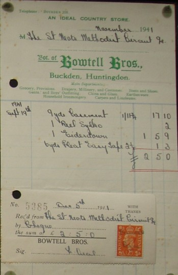 St Neots Methodist Circuit - Invoice from Bowtell Bros Stores of Buckden for goods sold to the Circuit, dated November 1941