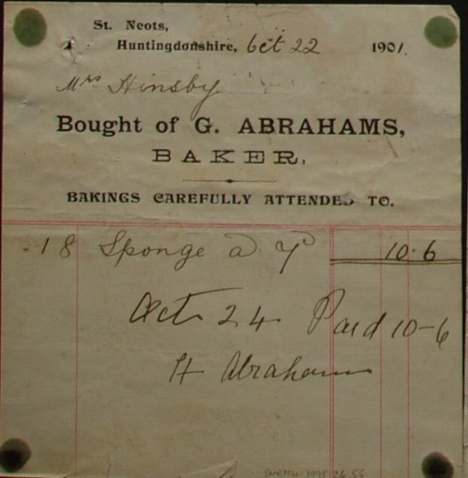 Invoice from G. Abrahams, baker of St Neots for Mrs Hinsby, dated October 1901