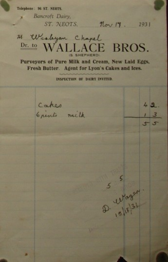 Invoice from Wallace Bros Dairy, St Neots for cakes and milk for the Wesleyan Chapel, November 1931