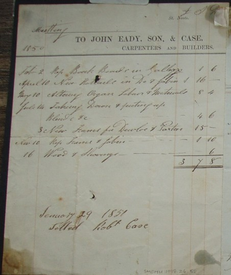 Meeting House, St Neots - Invoice from John Eady,Son & Case, builders and carpenters of St Neots for building work , dated 1850