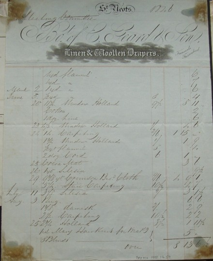 Invoice from E Geard, Drapers of St Neots with a list of items sold to the Meeting Committee, dated 1846