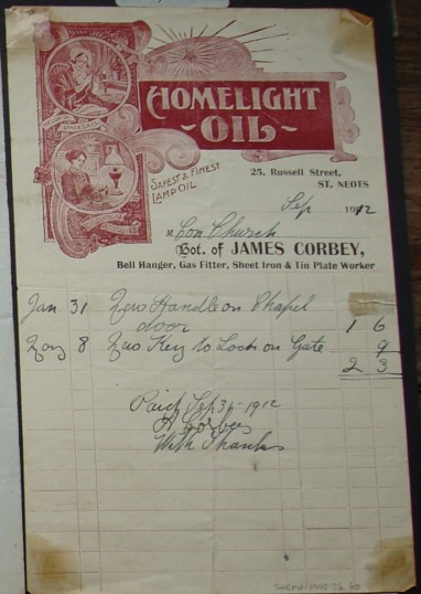 Congregational Church, St Neots - Invoice from James Corbey, Bell Hanger, Gas Fitter & Metal Worker of Russell Street, St Neots for work, dated September 1912