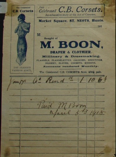 Invoice from M. Boon, Draper & Clothier of Market Square, St Neots, April 1918