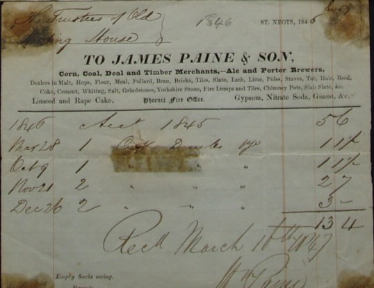 Old Meeting House, St Neots - Invoice from James Paine & Son, Merchants and Brewers of St Neots for the Trustees, dated 1846