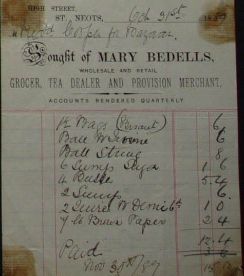 Invoice from Mary Bedells, Grocers of High Street, St Neots with items sold to Rev Cooper for a bazaar, dated October 1889