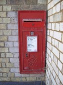 A GR wall post box in St Neots at the Railway Station - dating from the 1940s