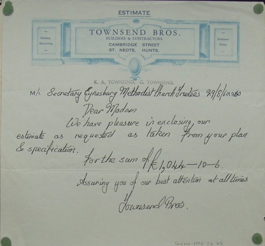 Estimate for building works from Townsend Bros, Builders of Cambridge Street, St Neots to the Eynesbury Methodist Church Trustees, dated August 1960
