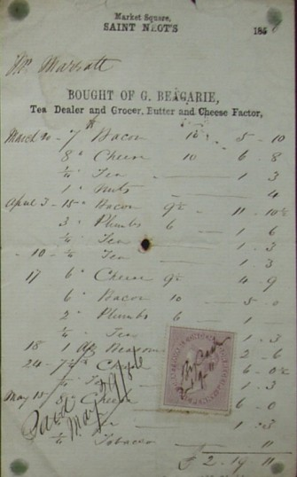 Invoice from G Beagarie, Grocer of Market Square, St Neots for groceries supplied to Mr Marratt, dated 1856