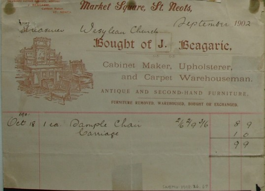 Wesleyan Church - Invoice from J. Beagarie, Furniture and Carpet Warehouseman of Market Square, St Neots for a chair supplied, dated September 1902