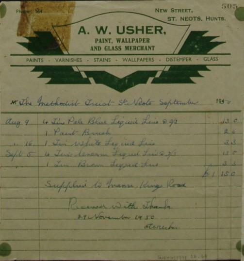 Invoice from A.W. Usher, Paint Wallpaper & Glass Merchant of New Street for Liquid Lino for Methodist Manse, September 1950